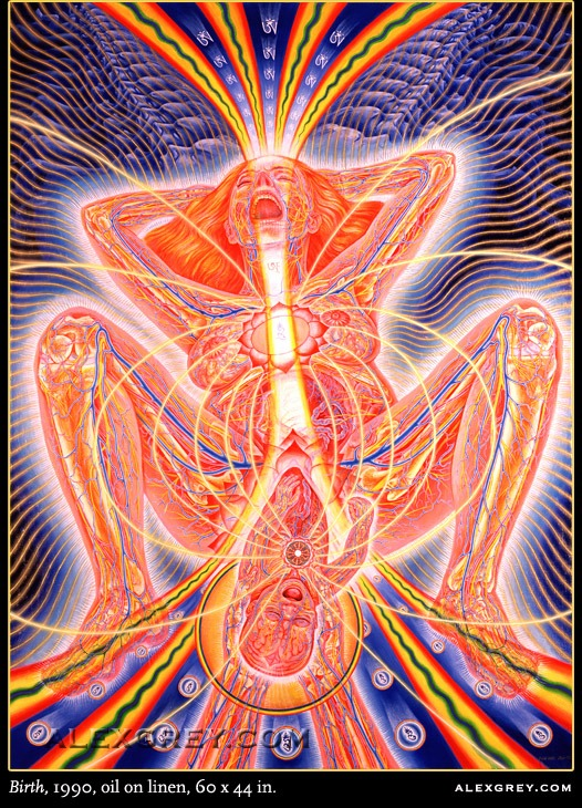 "Mother as Birthing Buddha in Alex Grey's ""Birth"""