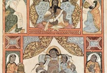 Medieval Islamic Painting of a Queen Giving Birth